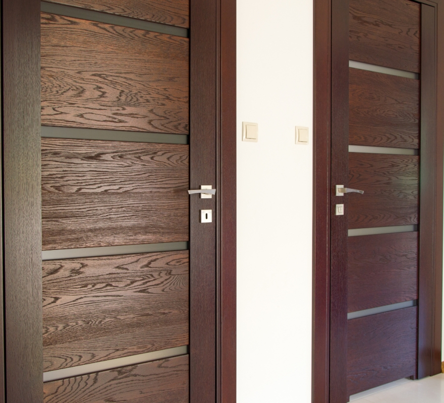 Two pair of brown wooden doors